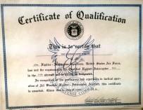 Demi's F-104 Pilot Certificate 21 Oct 1960